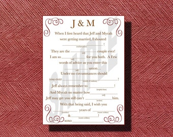 Guest Book Wedding Mad Libs a Guest Book Alternative