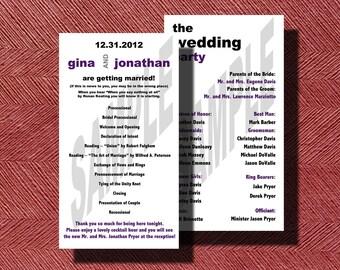 Modern Double Sided Wedding Program