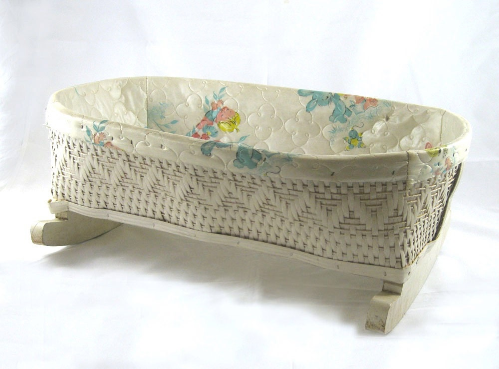 Vintage Doll Cradle Wicker Bassinet With Quilted By Niknaknook