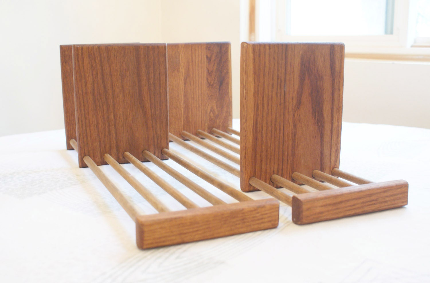 Vintage Bookends Modern Adjustable Wood Set of Two Pair