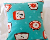 pillow cover - 14 x 14 retro clocks, aqua