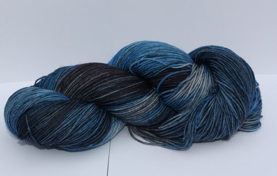 Soft & Sturdy Sock- 100 grams Color- Blue, Gray, Black Hand Dyed Yarn