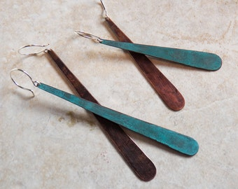 Verdigris Long Tear Drops Dangle earrings - Copper  with Turquoise Blue Patina - Minimalist