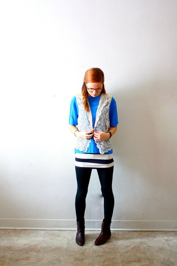Vintage crochet lace vest