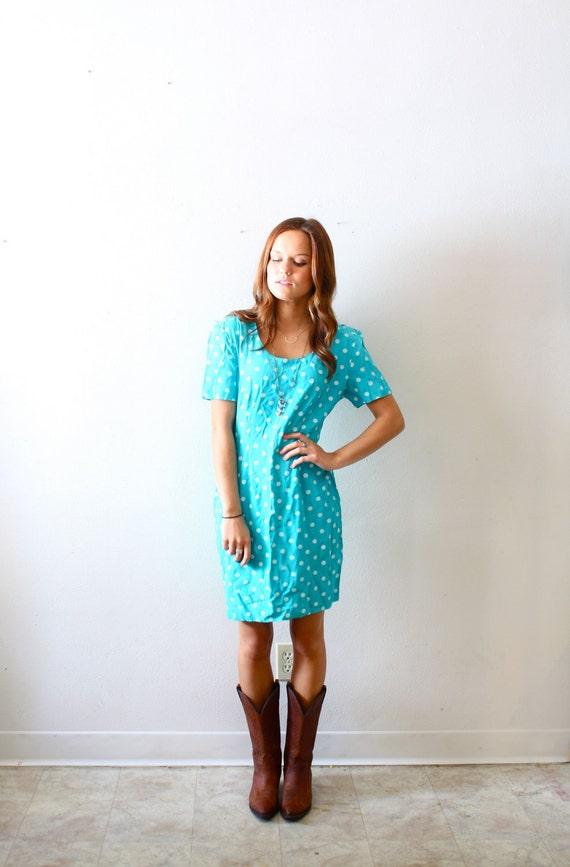 50% OFF Vintage blue polka dot dress
