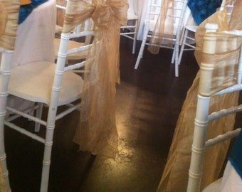 Custom Made Elegant Gold Organza Sashes Pack of 10
