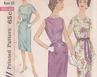 Simplicity 3874 Size 12 Bust 32 1960s dress sewing pattern