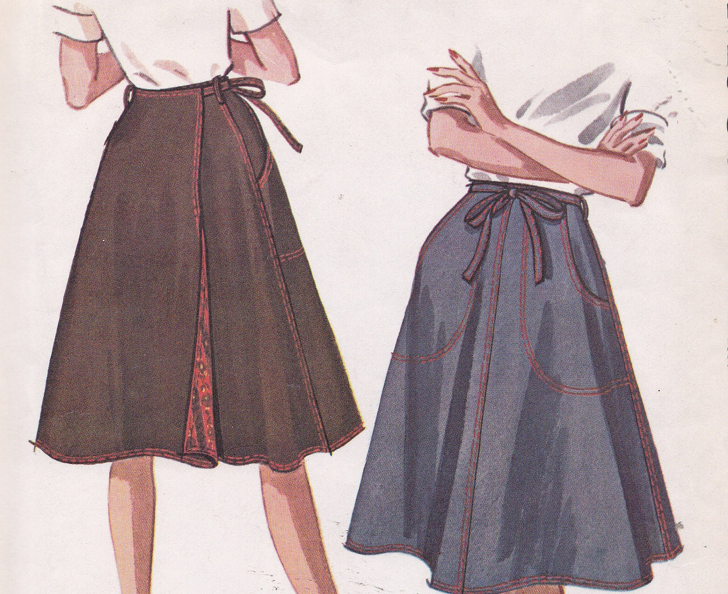Wrap Around Skirt Sewing Pattern From 1962 Mccalls 6665 Size