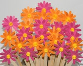 Pink and Orange DAISY DRINK STIRRERS - Wedding Flowers and Party Bouquet - Great for Coffee and Drink Bar - set of 12