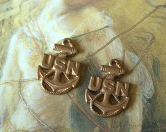 2 Vintage Old Brass Unique Nautical  U.S. Naval Pendant Charms