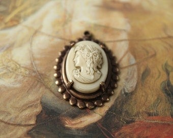 Vintage Old Brass and Art Glass Cameo UPCYCLED Pendant