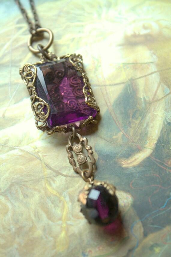 Vintage Czech Amethyst Glass Upcycled Filigree Necklace