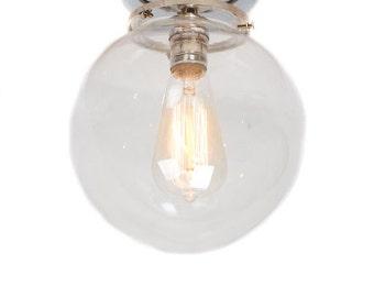 "Flush Mount Chrome 8"" Glass Globe Edison Light"