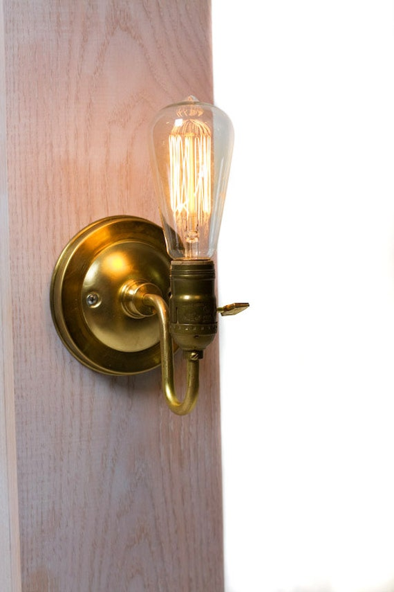 Brass Loop Arm Bare Bulb Vintage Style Paddle Key Socket Wall Sconce