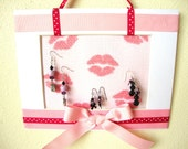Wall Jewely/Earring Holder Display Frame- Ribbon Hanging Jewelry Display- Lips- Bow-Kiss-Frame- 5X7- FREE U.S Shipping