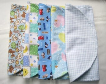 Flannel Baby Burp Cloths for Boy Set of 5, FREE ship US only