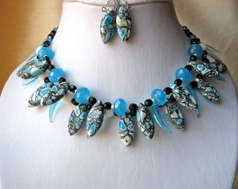 Sky Blue & White Necklace and Earrings Set - ADJUSTABLE, black