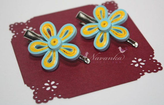 Reserved for Shimpa Set of 2 Blue and Yellow Paper Quilling Flower Alligator Hair Clips with Teeth