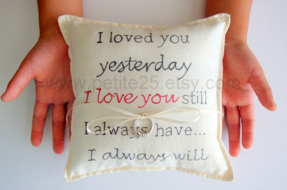 I Love You ring bearer pillow- simple, rustic, engagement, wedding, anniversary I Love You