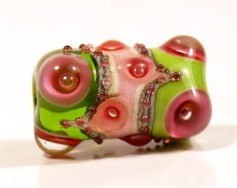 Green, Pink and Ivory Lampwork Focal Glass Bead