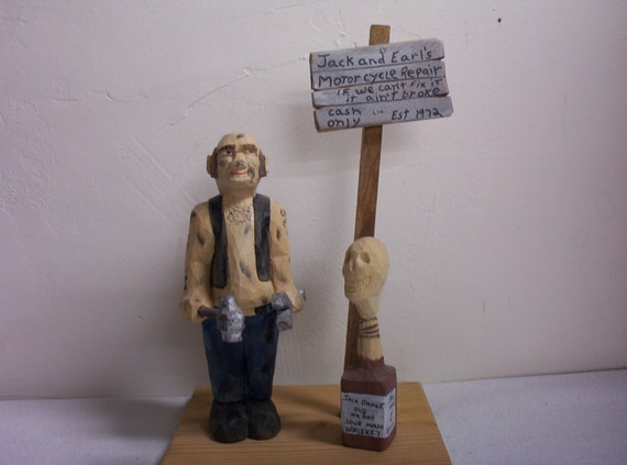 Caricature wood carving collectible figurines hand carved OAAK gift for motorcycle mechanic hand made in Wisconsin by Old Bear Woodcarving