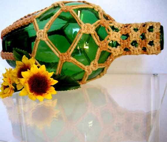 Vintage green wine bottle upcycled recycled hand knotted 1957