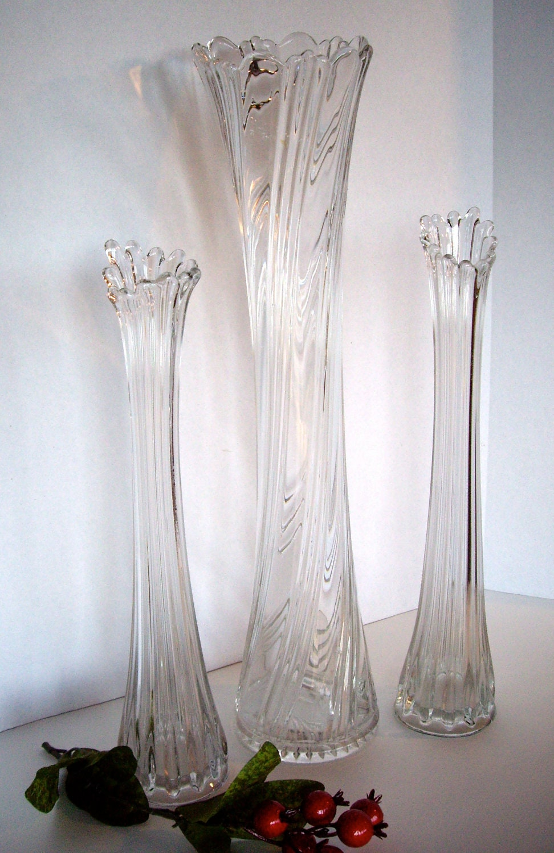 Vintage Heisey Art Deco Swung Swirl Glass Gladiola Vases 1940s