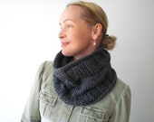 Hand knit winter cowl / dark gray / grey / charcoal / urban rustic / cottage style / winter neck cozy / warm / unisex / simple design