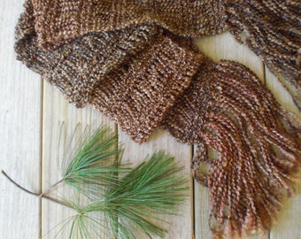 Hand knit winter scarf / pine bark brown / light cocoa brown / country chic / soft lush fringes / autumn accessory / rustic urban boho scarf