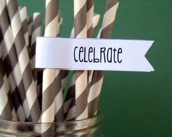 CLEARANCE SALE - Gray Paper Straws - Set of 25 Striped Drinking Straws