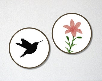 Counted Cross stitch Pattern PDF. Instant download. Hummingbird and Lily flower. Includes easy beginner instructions.