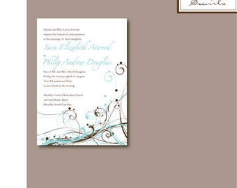 Swirls Wedding Invitation - Digital Template