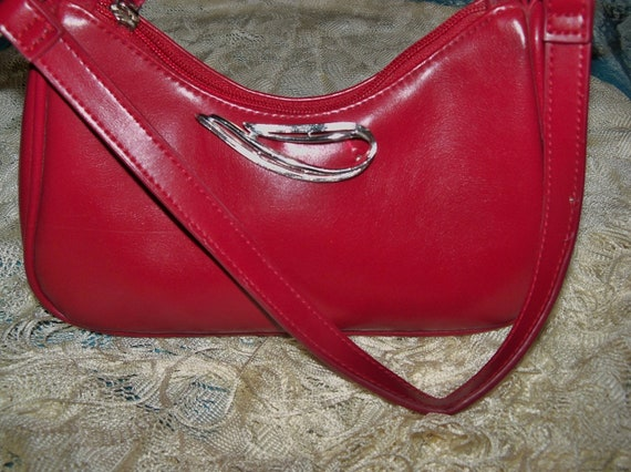 Upcycled Red Villager Purse Silver Swoosh Everyday Work Special Occasion Gift Birthday Anniversary Woman