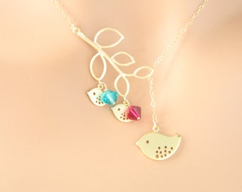 GOLD bird necklace, bird and birthstone necklace, personalized gift, family necklace, lariat necklace, branch necklace