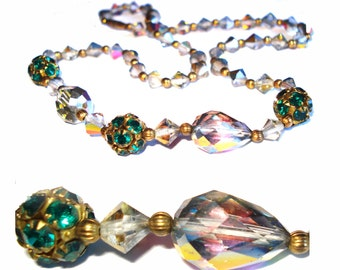 Vintage Glass Beaded Necklace Dress Iridescent Green Prong set Rhinestones Cocktail Dress Garden Party Mad Men Rockabilly Gown