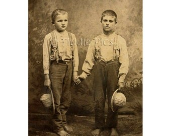 Country Boys Brothers Photo   Suspenders, Hats, Bare Feet   4 x 6 Sepia Photo Reprint