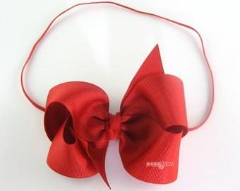 Baby Headband 4 Inch Bow - Skinny Elastic Headband Boutique Bow in Custom Sizes - Solid Color Red Baby Headband