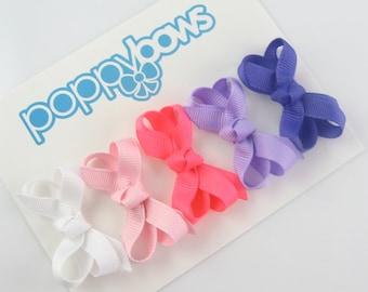 Infant Hair Bows - small hair bows - hair bow set - bows for baby - baby hair clips - infant hair clips - 2 inch bows - baby barrettes MM