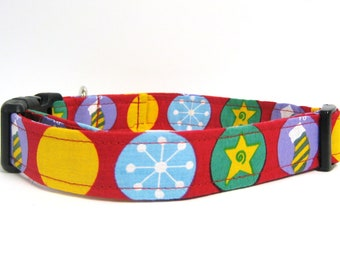 "Red Holiday Collar Dog - 1"" Medium/Large"
