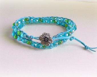 Boho Dazzling Blue Crystals Leather x2 Wrap Bracelet, Silver Flower Button, Adjustable Bracelet