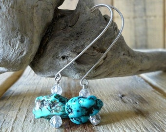 Turquoise Nugget Stone Sterling Silver Dangle Boho Earrings