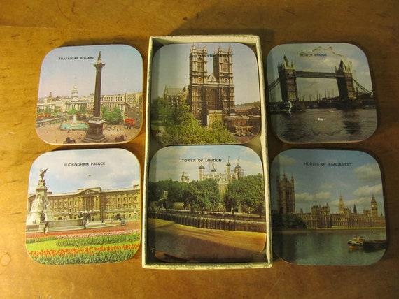Vintage Set of Coasters - London