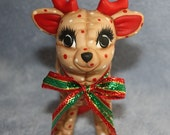 RESERVED FOR CARY Handpainted Ceramic Christmas Reindeer Baby Standing painted with a holly berry print to look stuffed