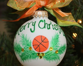 Handpainted Glass Personalized Basketball Ornament with with holly and gold berries using Swarovski rhinestones