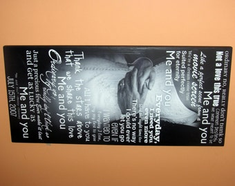 Wedding VOWS or First Dance SONG Lyrics Displayed on a GiCLEE Photo Print- custom made to order- 13x28