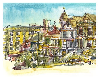 San Francisco Painted Ladies, California watercolor sketch- fine art print from an original watercolor
