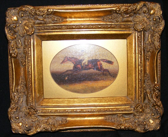 Ornate Heavy Gilded Frame Race Horse By Recyclingtheblues