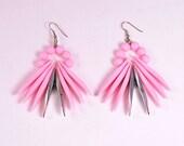 Vintage 80s Oversized Pink Plastic Statement Earrings