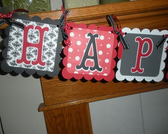 Happy Anniversary Banner, Happy Retirement Banner, Matching Tissue Pom Poms Available