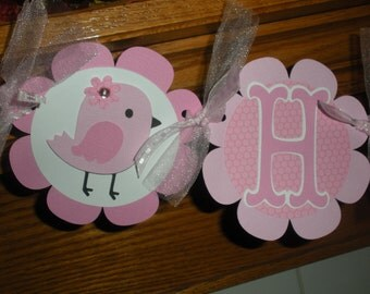 Birdie Birthday Banner, Shades of Pink Happy Birthday Banner, Birthday Banner, Matching Tissue Pom Poms Available